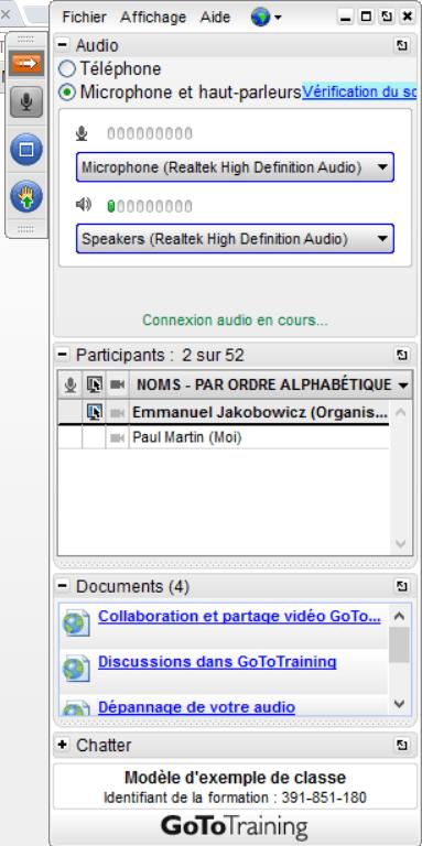 barre outils salle de classe virtuelle