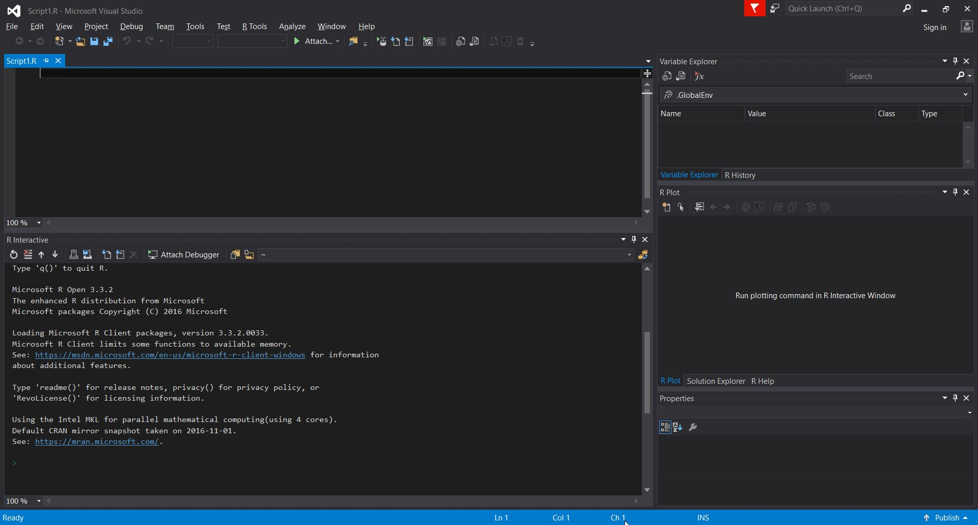 R client with visual studio